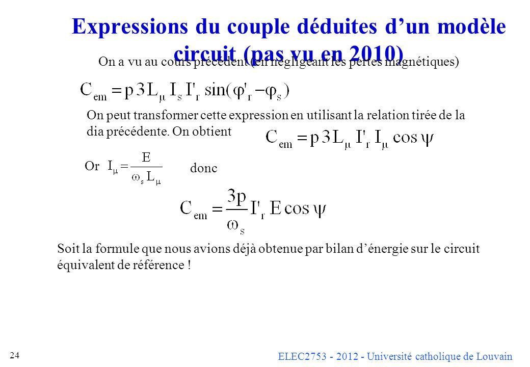 Expressions du couple déduites d'un modèle circuit (pas vu en 2010)