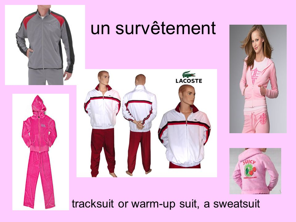 un survêtement a tracksuit or warm-up suit, a sweatsuit