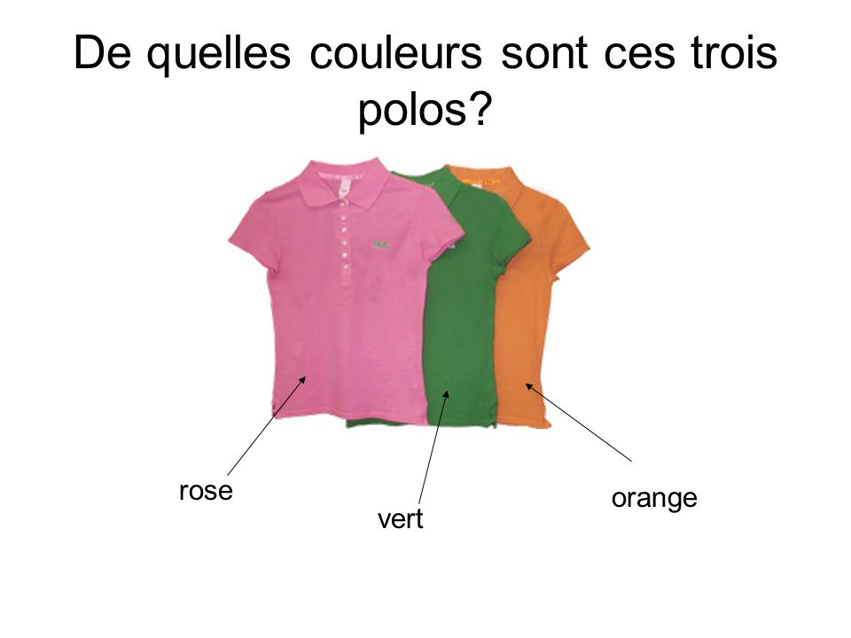 De quelles couleurs sont ces trois polos