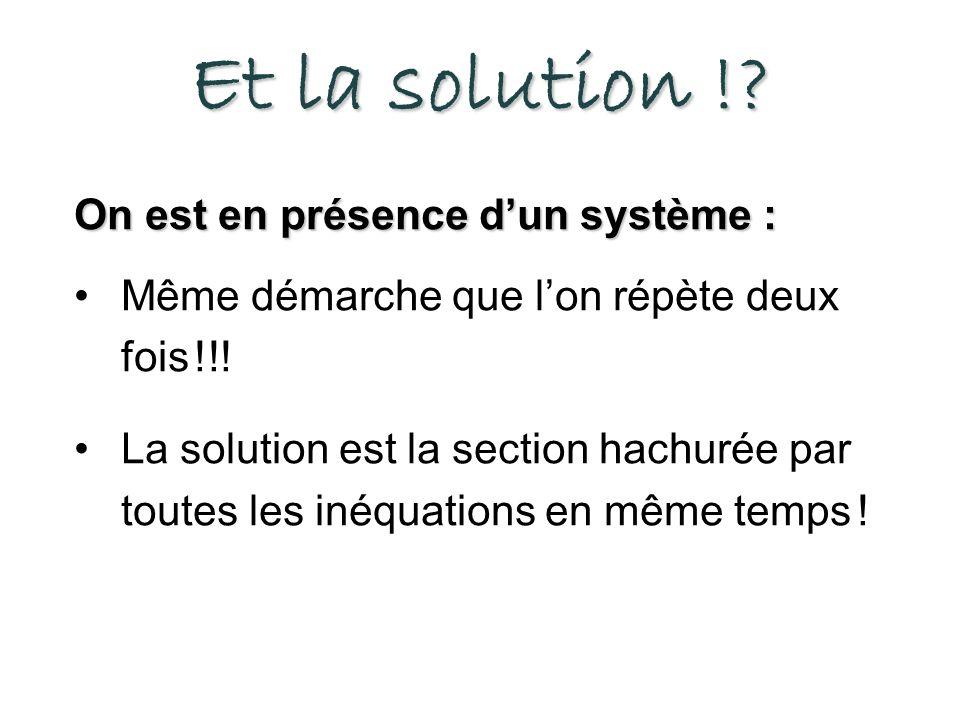 Et la solution ! On est en présence d'un système :