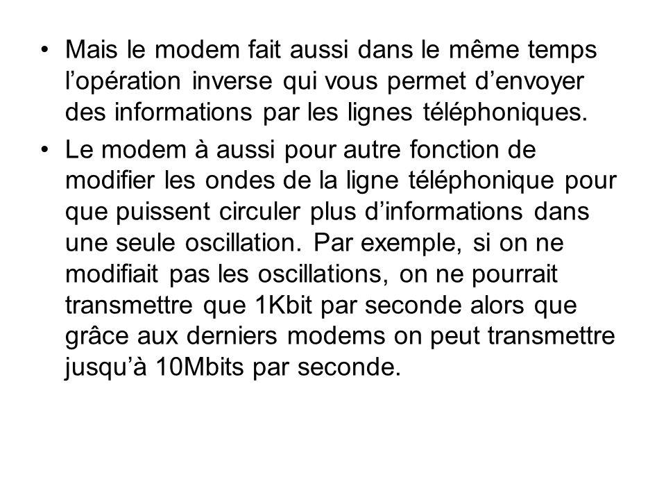 Mais le modem fait aussi dans le même temps l'opération inverse qui vous permet d'envoyer des informations par les lignes téléphoniques.