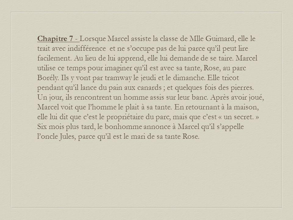 Chapitre 7 - Lorsque Marcel assiste la classe de Mlle Guimard, elle le trait avec indifférence et ne s'occupe pas de lui parce qu'il peut lire facilement.