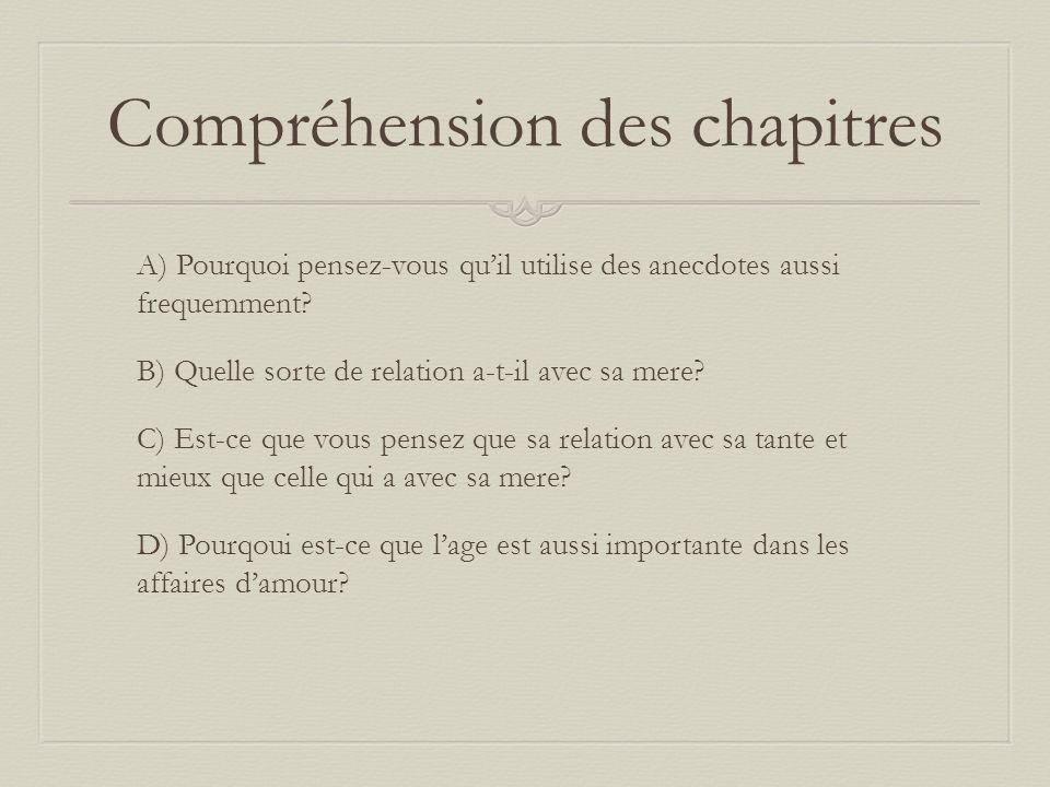 Compréhension des chapitres