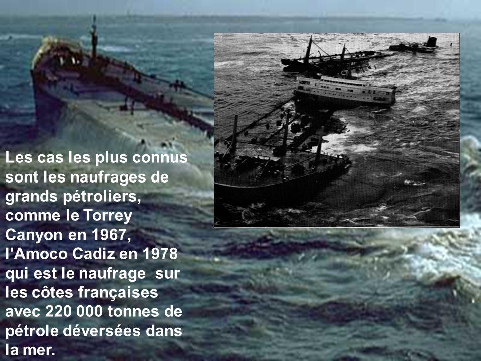 Les cas les plus connus sont les naufrages de grands pétroliers, comme le Torrey Canyon en 1967, l Amoco Cadiz en 1978 qui est le naufrage sur les côtes françaises avec 220 000 tonnes de pétrole déversées dans la mer.