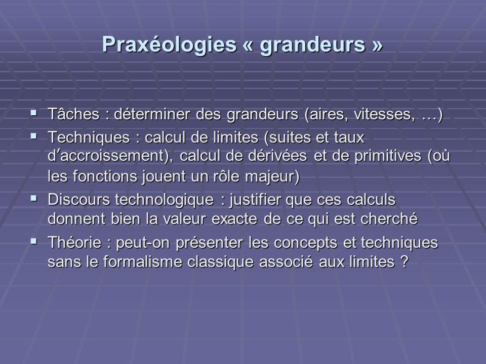 Praxéologies « grandeurs »