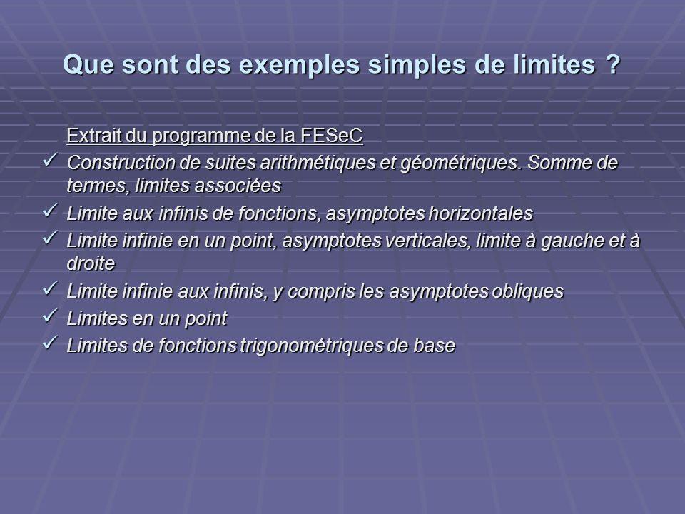 Que sont des exemples simples de limites