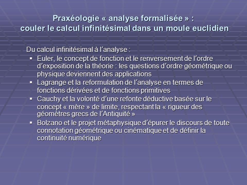 Praxéologie « analyse formalisée » : couler le calcul infinitésimal dans un moule euclidien