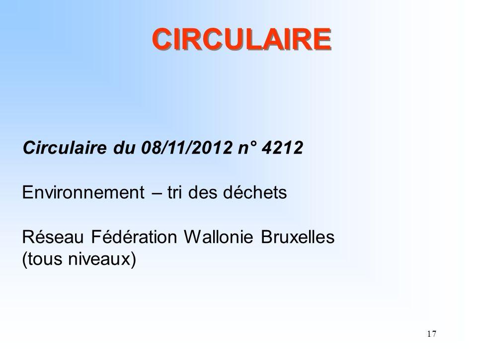CIRCULAIRE Circulaire du 08/11/2012 n° 4212