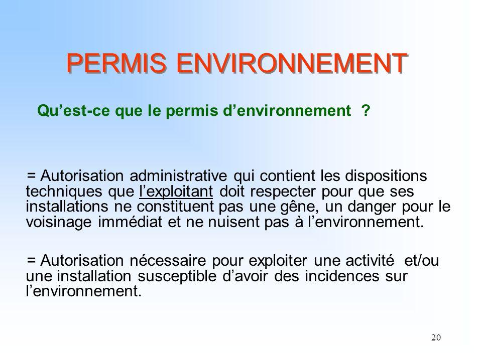 PERMIS ENVIRONNEMENT Qu'est-ce que le permis d'environnement