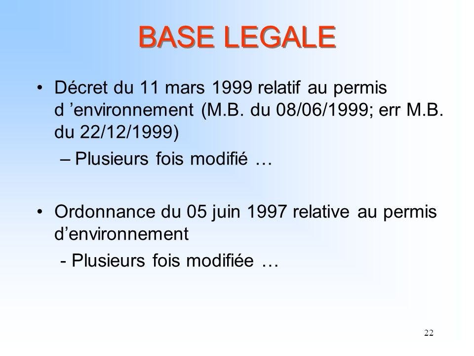 BASE LEGALE Décret du 11 mars 1999 relatif au permis d 'environnement (M.B. du 08/06/1999; err M.B. du 22/12/1999)
