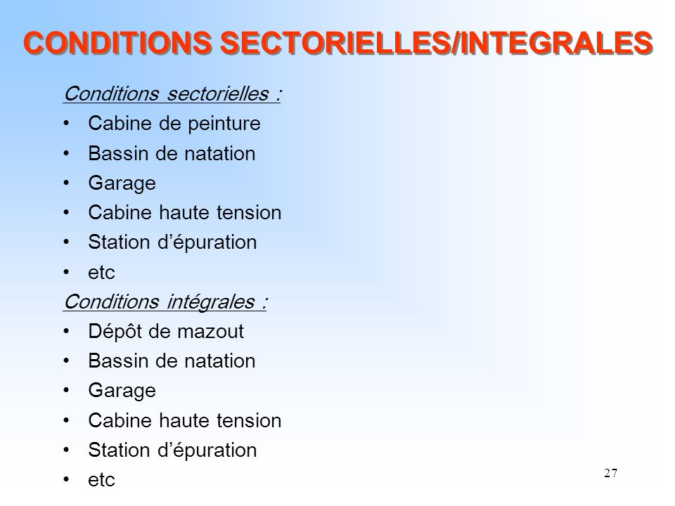 CONDITIONS SECTORIELLES/INTEGRALES