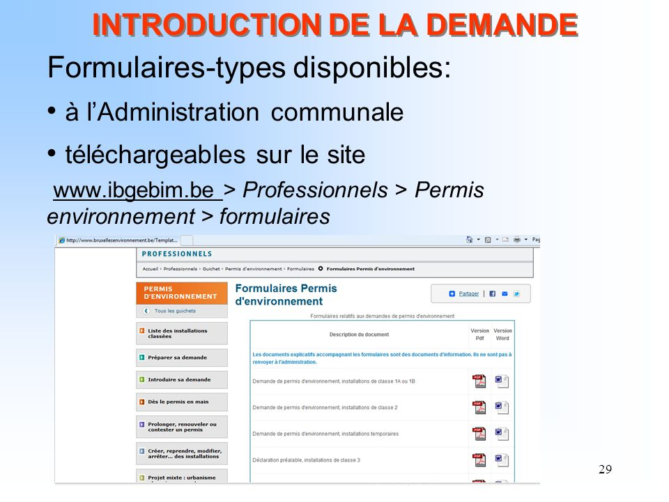 INTRODUCTION DE LA DEMANDE