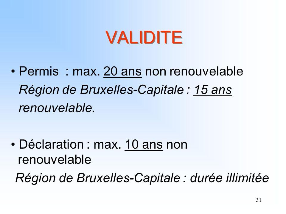 VALIDITE Permis : max. 20 ans non renouvelable