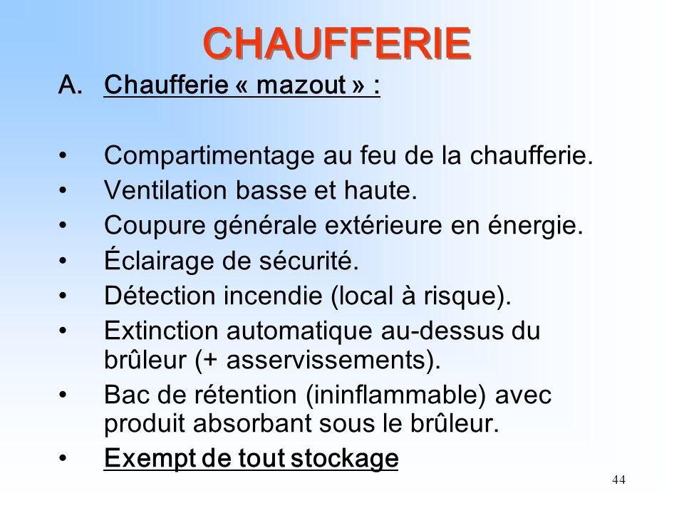 CHAUFFERIE Chaufferie « mazout » :