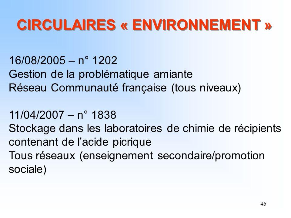 CIRCULAIRES « ENVIRONNEMENT »