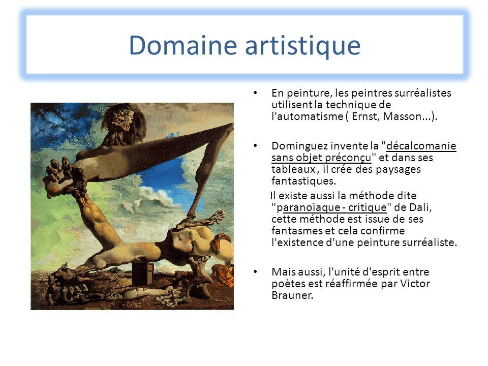 Domaine artistique En peinture, les peintres surréalistes utilisent la technique de l automatisme ( Ernst, Masson...).