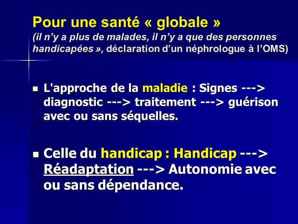 Pour une santé « globale » (il n'y a plus de malades, il n'y a que des personnes handicapées », déclaration d'un néphrologue à l'OMS)