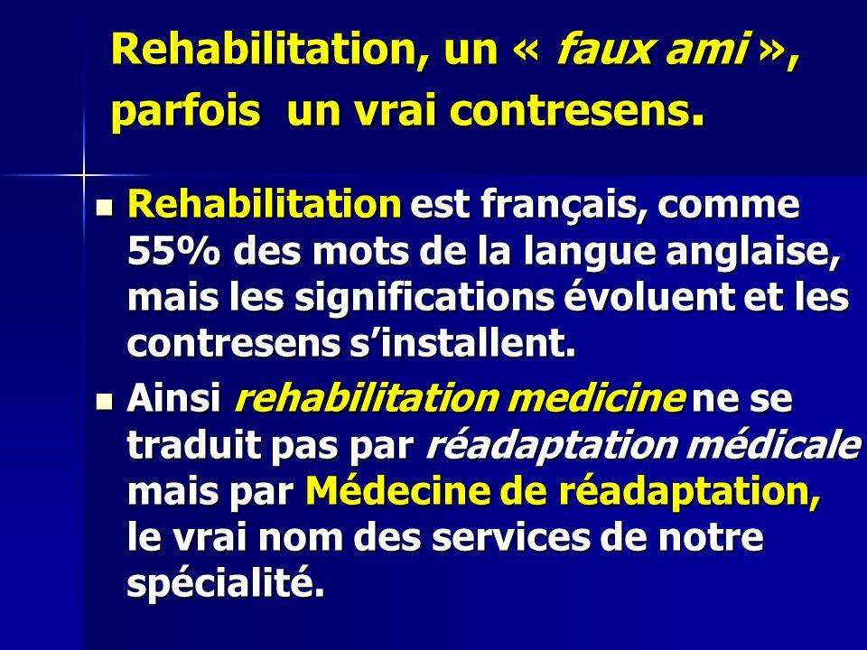 Rehabilitation, un « faux ami », parfois un vrai contresens.