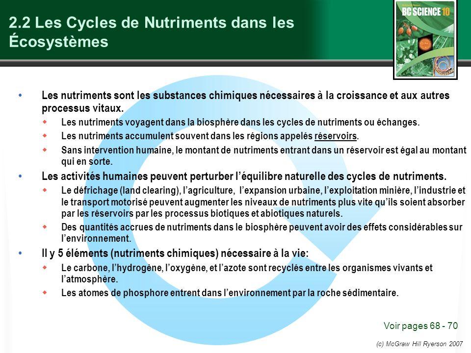 2.2 Les Cycles de Nutriments dans les Écosystèmes