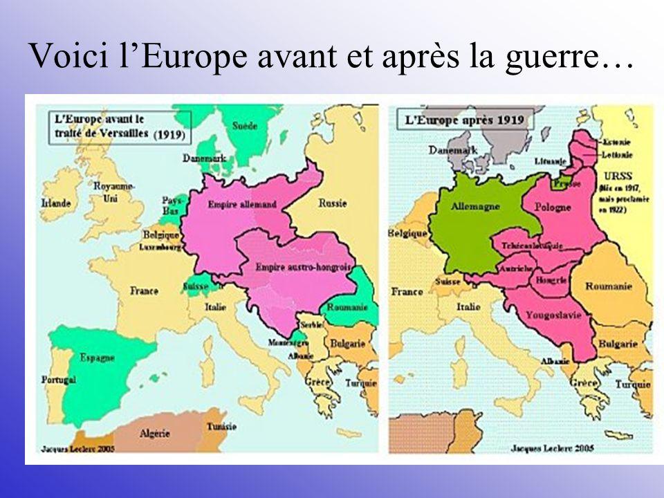 Voici l'Europe avant et après la guerre…