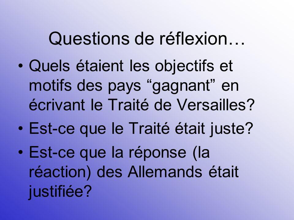 Questions de réflexion…