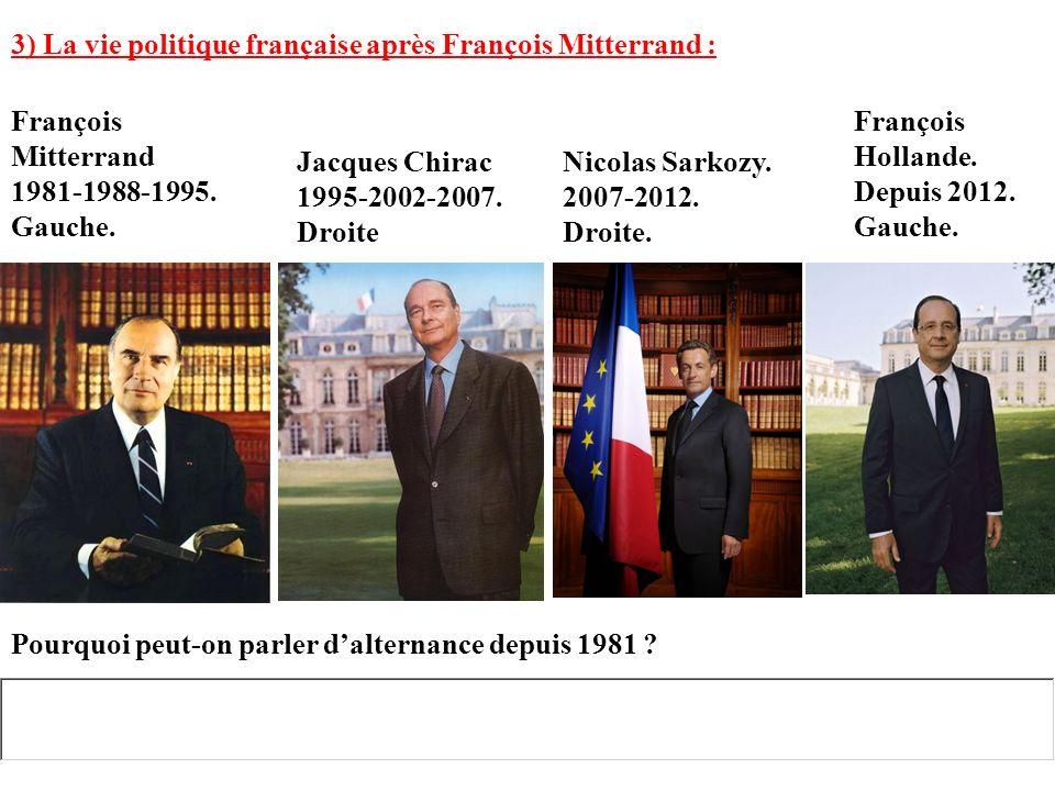 3) La vie politique française après François Mitterrand :