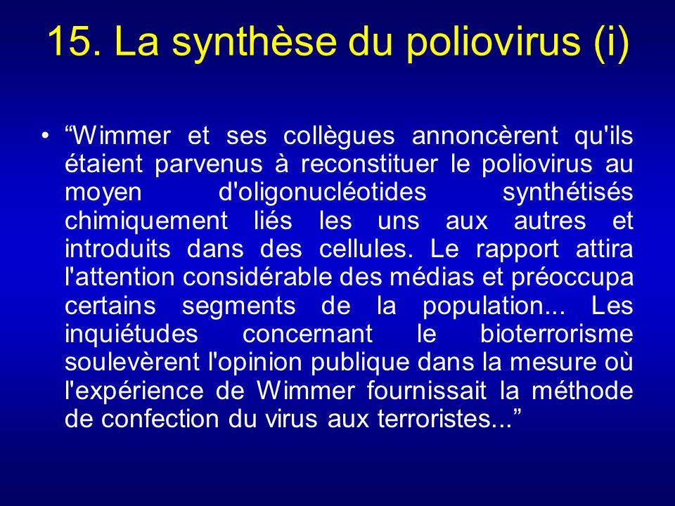 15. La synthèse du poliovirus (i)