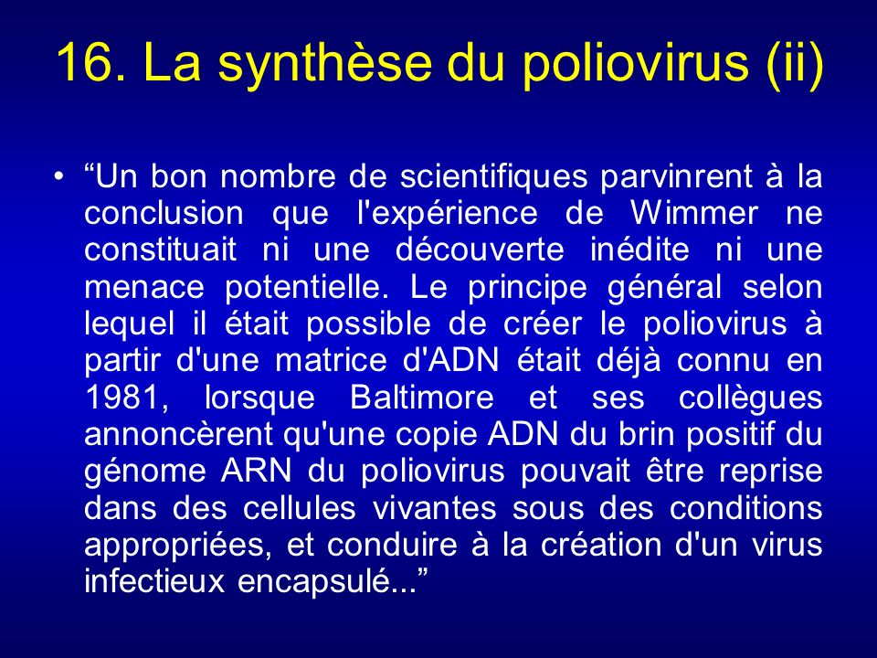 16. La synthèse du poliovirus (ii)