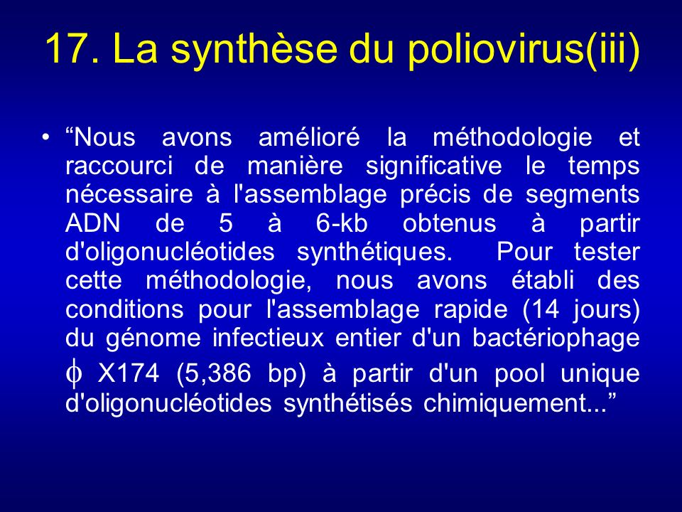 17. La synthèse du poliovirus(iii)