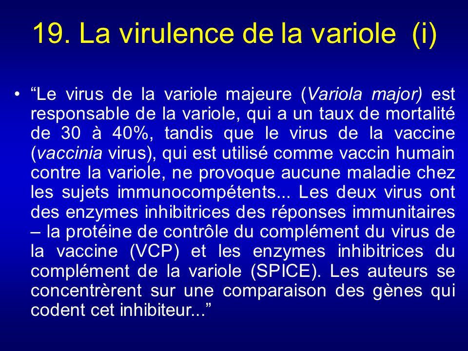 19. La virulence de la variole (i)