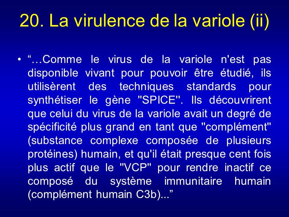 20. La virulence de la variole (ii)