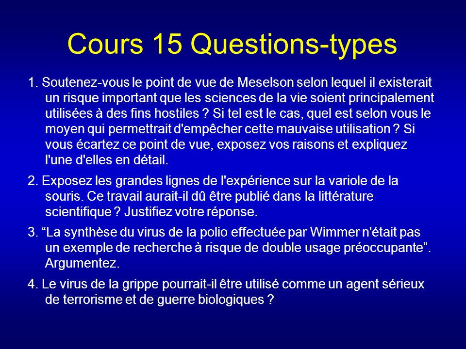 Cours 15 Questions-types