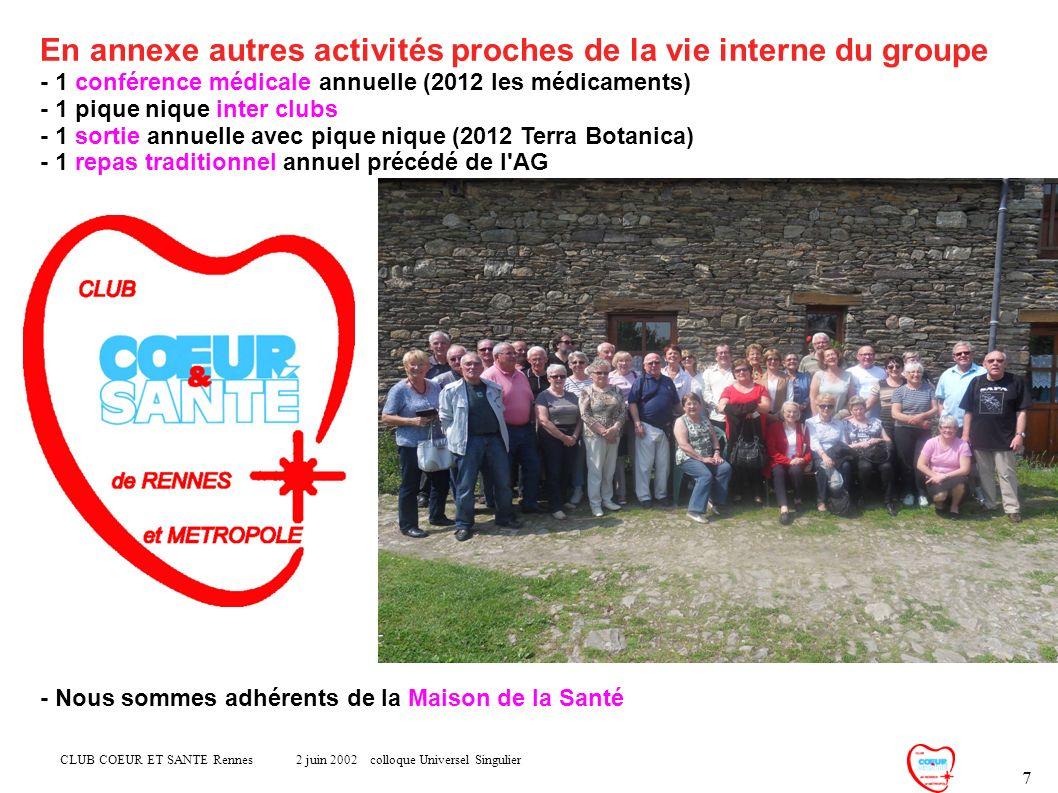 CLUB COEUR ET SANTE Rennes 2 juin 2002 colloque Universel Singulier