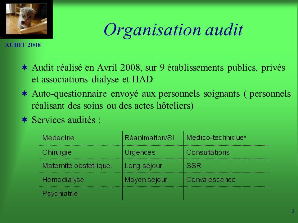 Organisation audit AUDIT 2008. Audit réalisé en Avril 2008, sur 9 établissements publics, privés et associations dialyse et HAD.