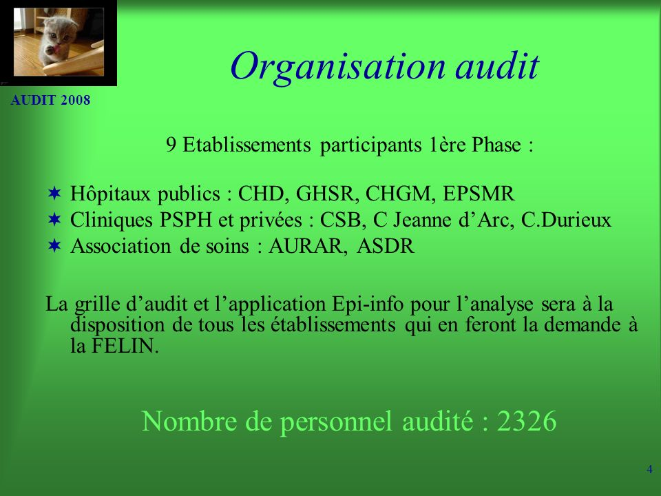 Organisation audit Nombre de personnel audité : 2326