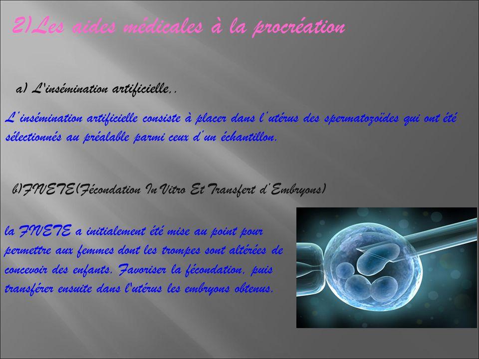 2)Les aides médicales à la procréation