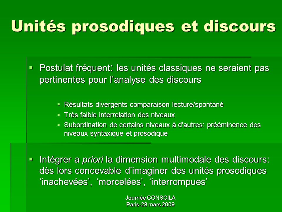 Unités prosodiques et discours