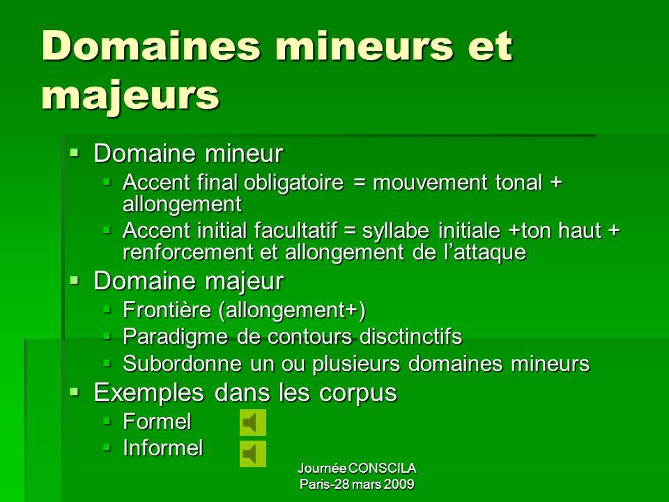 Domaines mineurs et majeurs