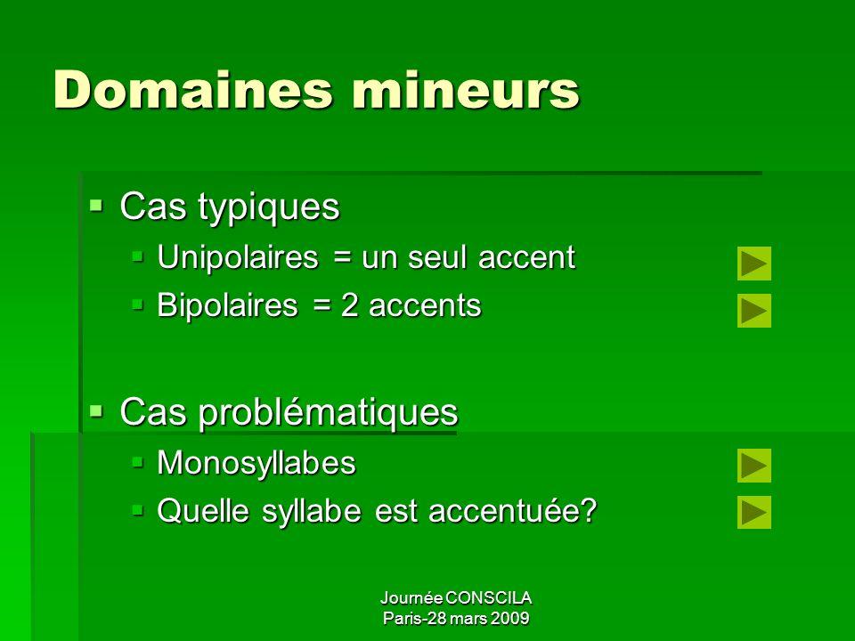Domaines mineurs Cas typiques Cas problématiques