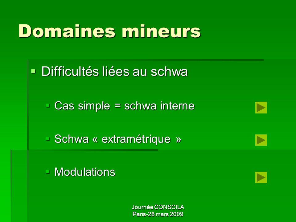 Domaines mineurs Difficultés liées au schwa Cas simple = schwa interne