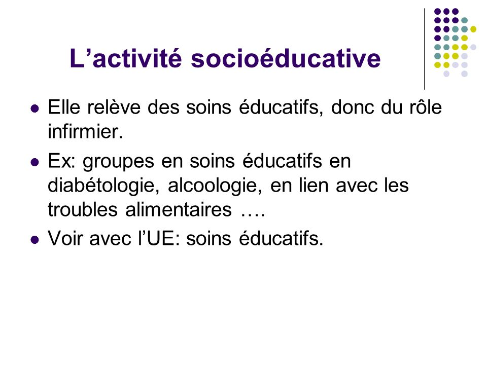 L'activité socioéducative