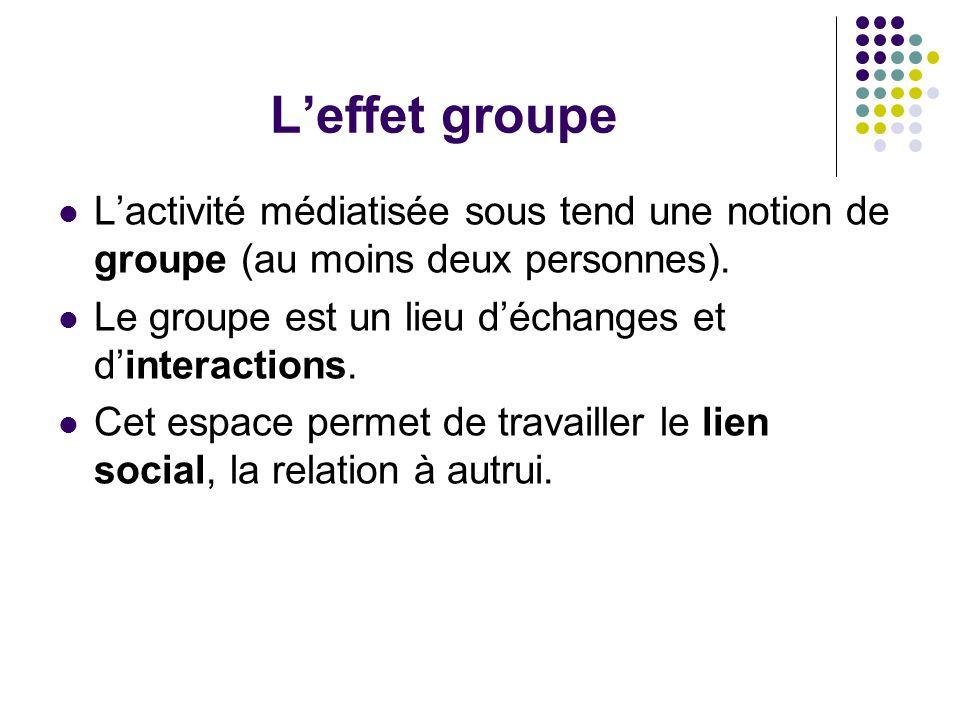 L'effet groupe L'activité médiatisée sous tend une notion de groupe (au moins deux personnes). Le groupe est un lieu d'échanges et d'interactions.