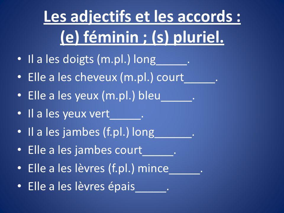 Les adjectifs et les accords : (e) féminin ; (s) pluriel.