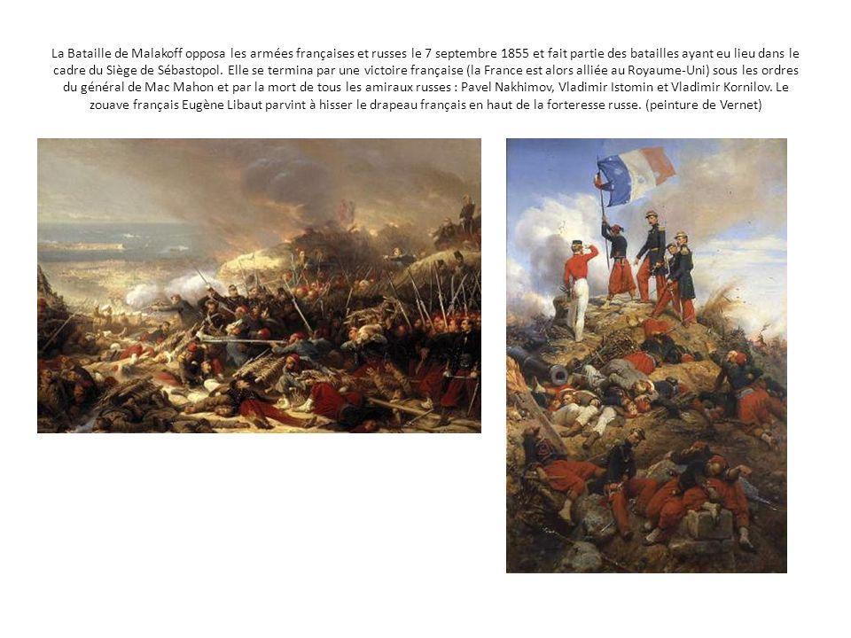 La Bataille de Malakoff opposa les armées françaises et russes le 7 septembre 1855 et fait partie des batailles ayant eu lieu dans le cadre du Siège de Sébastopol.