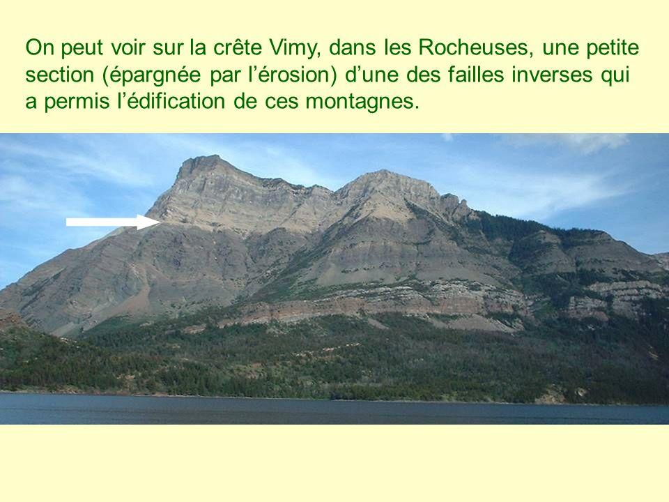 On peut voir sur la crête Vimy, dans les Rocheuses, une petite section (épargnée par l'érosion) d'une des failles inverses qui a permis l'édification de ces montagnes.