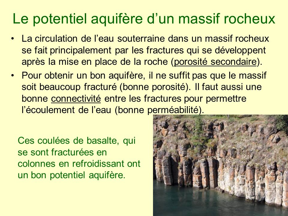 Le potentiel aquifère d'un massif rocheux