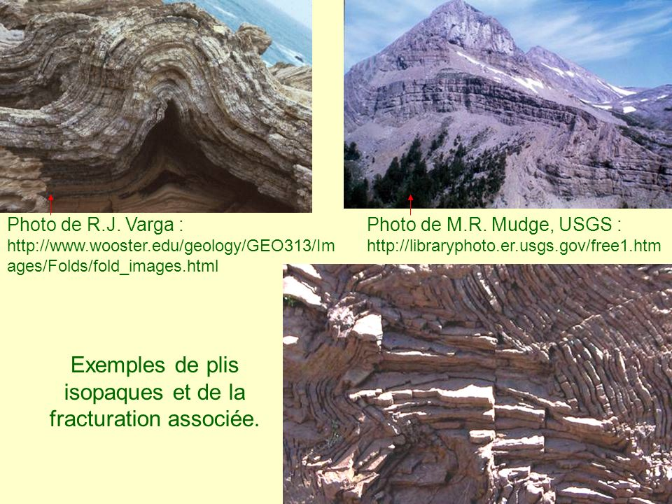 Exemples de plis isopaques et de la fracturation associée.