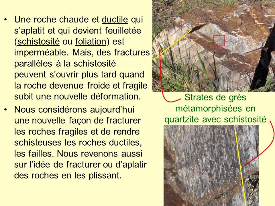 Strates de grès métamorphisées en quartzite avec schistosité