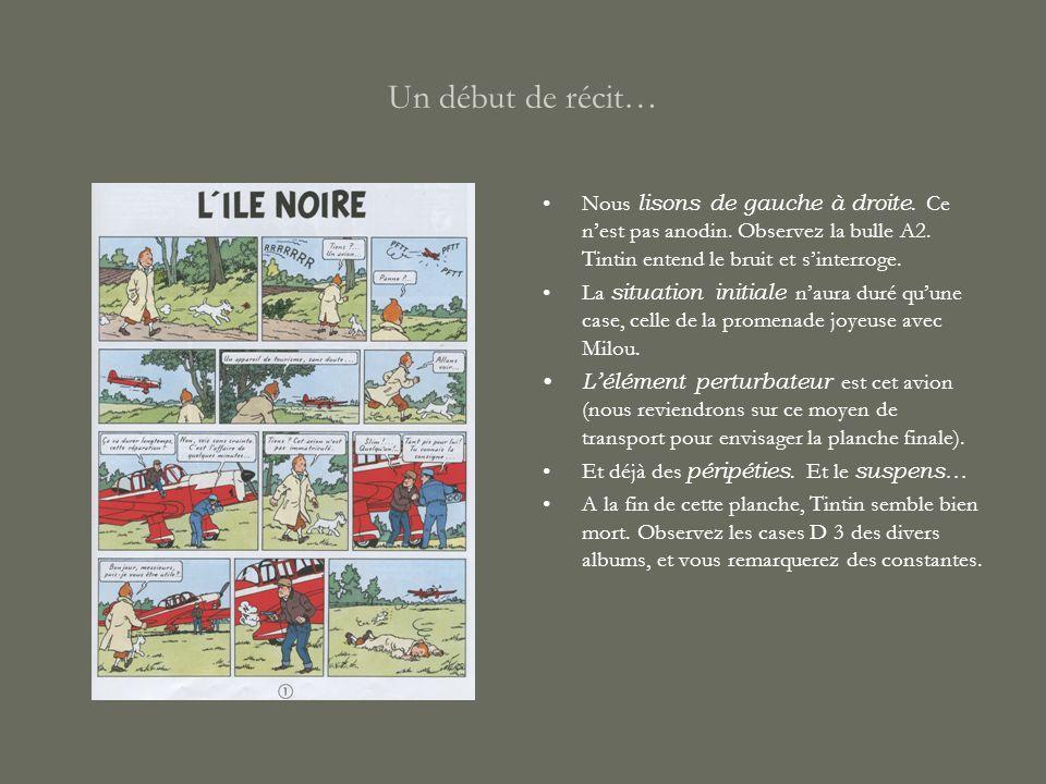 Un début de récit… Nous lisons de gauche à droite. Ce n'est pas anodin. Observez la bulle A2. Tintin entend le bruit et s'interroge.