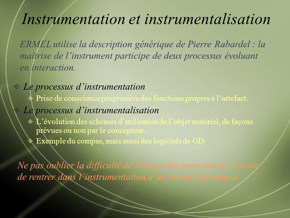 Instrumentation et instrumentalisation